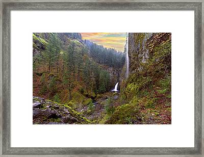Wahclella Falls In Columbia River Gorge Framed Print by David Gn
