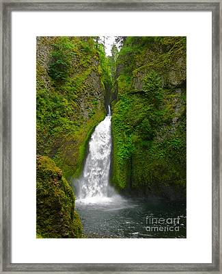 Wahclella Falls Framed Print by PJ  Cloud