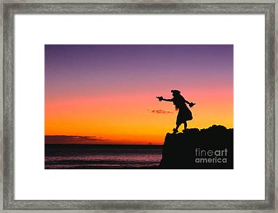 Wahine Hula Dancer Framed Print by William Waterfall - Printscapes
