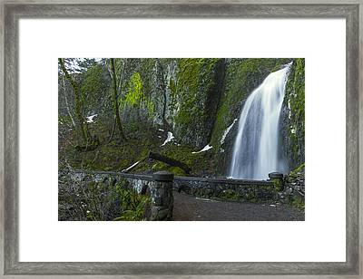 Wahkeena Falls Bridge Framed Print