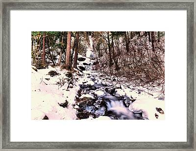 Framed Print featuring the photograph Wahkeena Falls In Ice by Jeff Swan