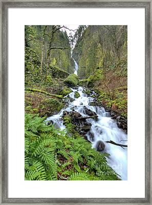 Wahkeena Falls Oregon Waterfall Framed Print by Dustin K Ryan