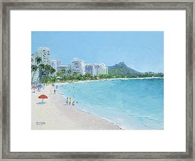 Waikiki Beach Honolulu Hawaii Framed Print