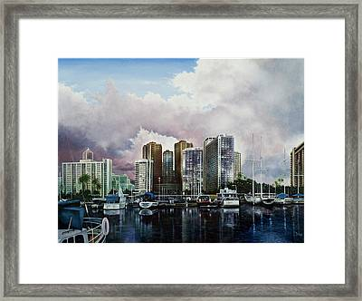 Framed Print featuring the painting Waikiki Beach Marina by Michael Frank