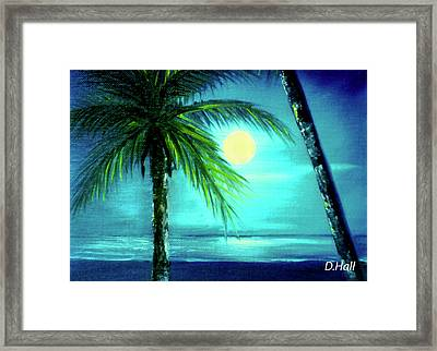 Waikiki Beach Moon #22 Framed Print by Donald k Hall