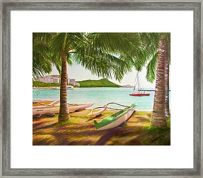 Waikiki Beach Outrigger Canoes 344 Framed Print by Donald k Hall
