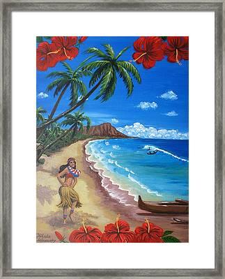 Waikiki Framed Print by Chikako Hashimoto Lichnowsky