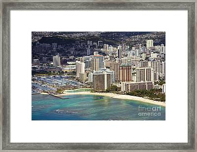 Waikiki From Above Framed Print by Ron Dahlquist - Printscapes