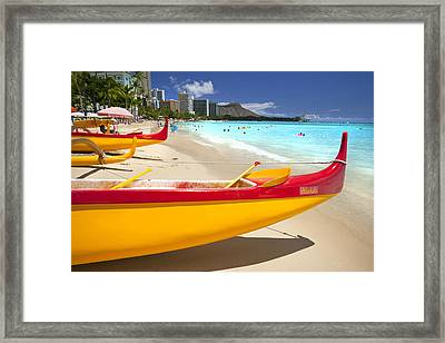 Waikiki Outriggers Framed Print by Sean Davey