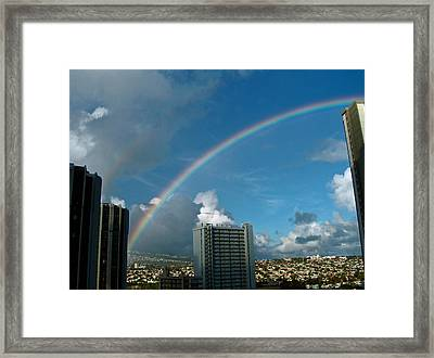 Framed Print featuring the photograph Waikiki Rainbow by Anthony Baatz
