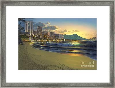 Waikiki Sunrise Framed Print by Al Hogue