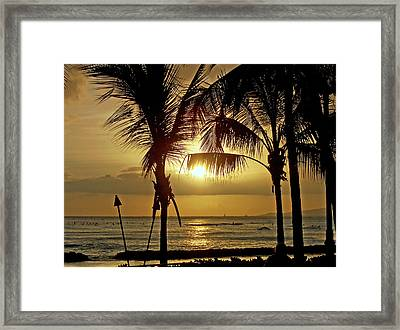 Framed Print featuring the photograph Waikiki Sunset by Anthony Baatz