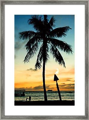 Waikiki Sunset Framed Print by DJ Florek