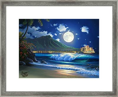 Waikiki Surf Aglow Framed Print by Al Hogue