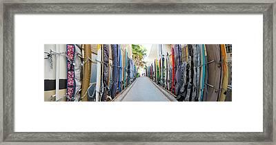 Waikiki Surfboard Storage Framed Print