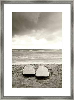 Waikiki Surfboards Framed Print