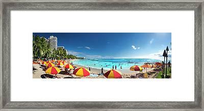 Waikiki Umbrellas. Framed Print