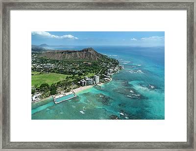 Waikiki War Memorial Pool And Diamond Head Framed Print by Sean Davey