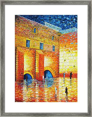 Framed Print featuring the painting Wailing Wall Original Palette Knife Painting by Georgeta Blanaru