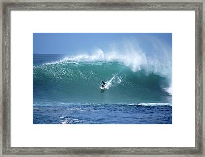 Waimea Bay Boomer Framed Print by Kevin Smith