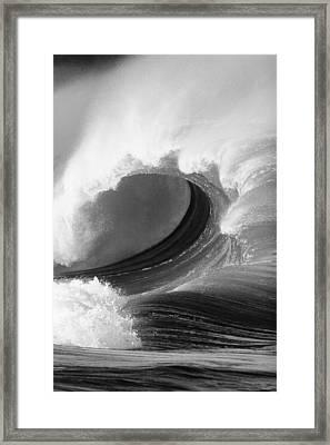 Waimea Bay Wave - Bw Framed Print by Vince Cavataio - Printscapes