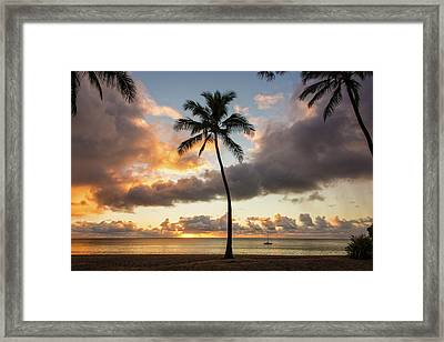 Waimea Beach Sunset - Oahu Hawaii Framed Print