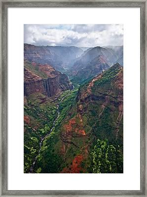 Waimea Canyon Flyover Framed Print by Thorsten Scheuermann