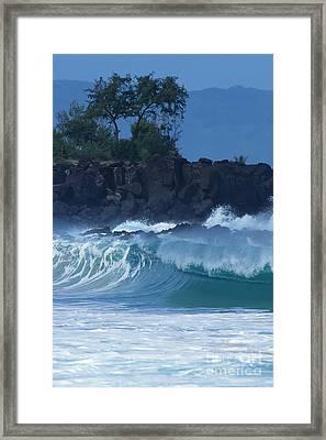 Waimea Shorebreak Framed Print by Stan and Anne Foster