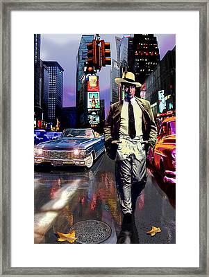 Waine Walking In Times Square Framed Print by Jose Roldan Rendon