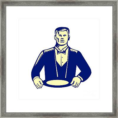 Waiter Cravat Serving Plate Woodcut Framed Print by Aloysius Patrimonio