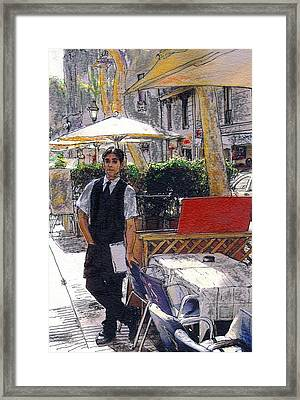 Waiter On La Rambla Framed Print by Randy Sprout
