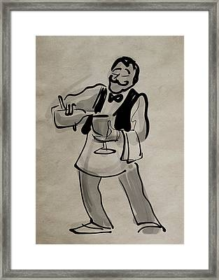 Waiter Pouring Wine Framed Print by Ray Hofstedt