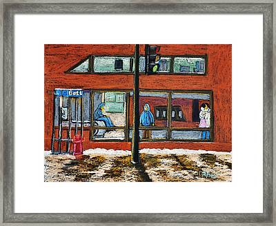 Waiting At The Metro Framed Print
