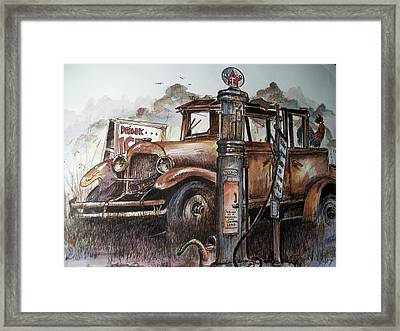 Waiting At The Pump Framed Print by Dick  Stanton