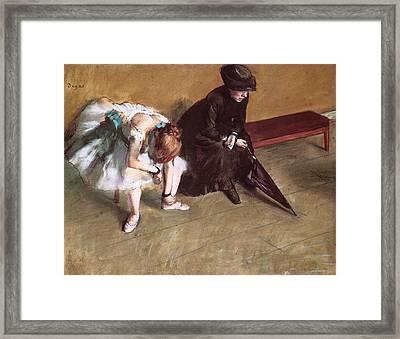 Waiting Framed Print by Edgar Degas