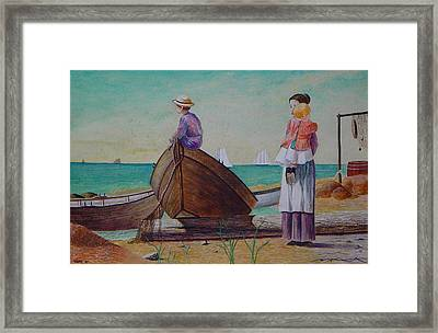 Waiting For Dad Winslow Homer Framed Print by Ron Sylvia