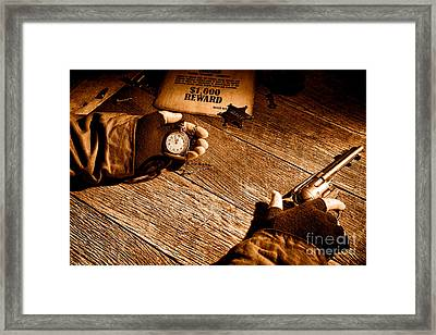 Waiting For High Noon - Sepia Framed Print