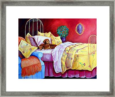 Waiting For Mom - Dachshund Framed Print by Lyn Cook