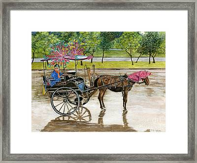 Framed Print featuring the painting Waiting For Rider Jakarta Indonesia by Melly Terpening