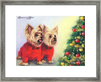 Waiting For Santa Dog Framed Print by Roseanne Marie Peters
