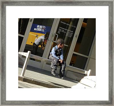 Waiting For The Bus Framed Print by Angela Wright