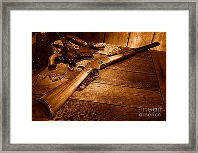 Waiting For The Gunfight - Sepia Framed Print by Olivier Le Queinec