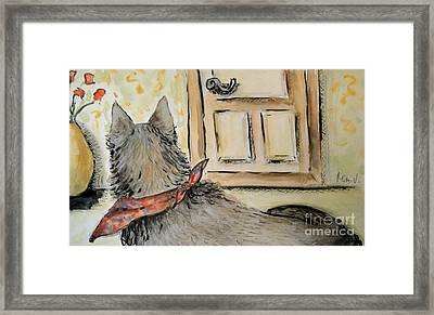 Framed Print featuring the painting Waiting For The Humans by Maria Langgle
