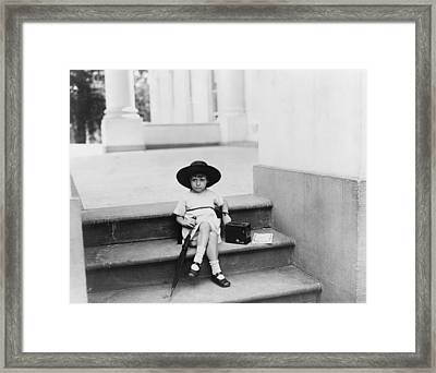 Waiting For The President, A Young Girl Framed Print by Everett