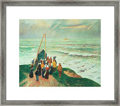 Waiting For The Return Of The Fishermen In Brittany Framed Print by Henry Moret