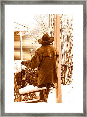 Waiting For The Storm - Sepia Framed Print