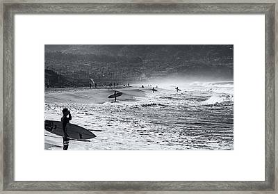 Waiting For The Surf By Mike-hope Framed Print