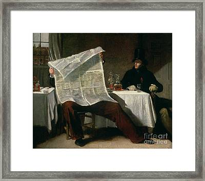 Waiting For The Times Framed Print by Benjamin Robert Haydon