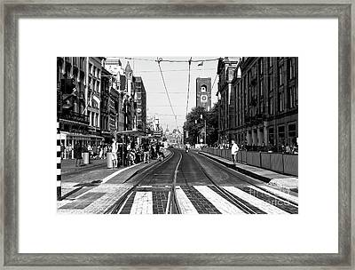 Waiting For The Tram Mono Framed Print by John Rizzuto