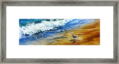 Waiting-for-the-wave Framed Print by Nancy Newman